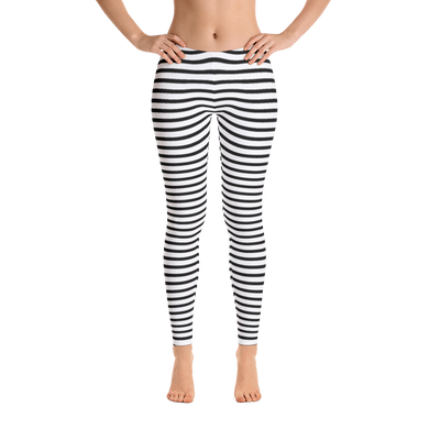 Women's All-Over Leggings in Black and White Stripes