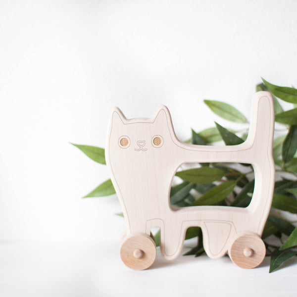 wooden cat push toy