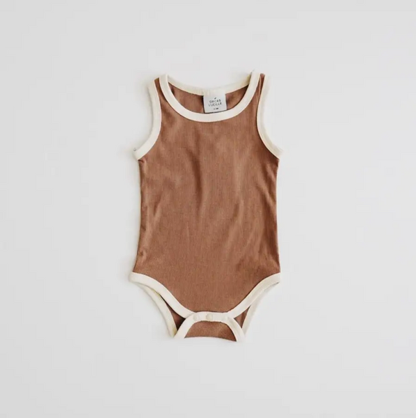ribbed bodysuit | chocolate