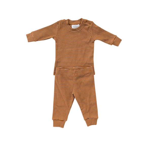 ribbed two piece cozy set | mustard + white stripe