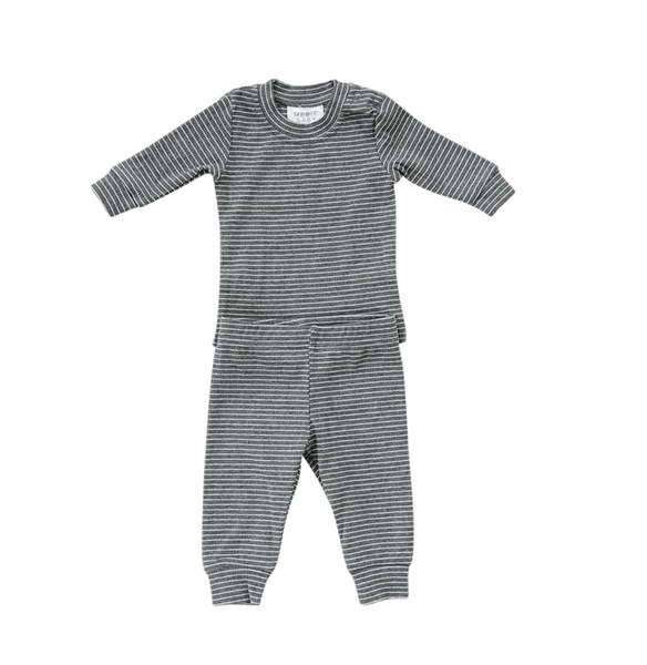 ribbed two piece cozy set | gray + white stripe