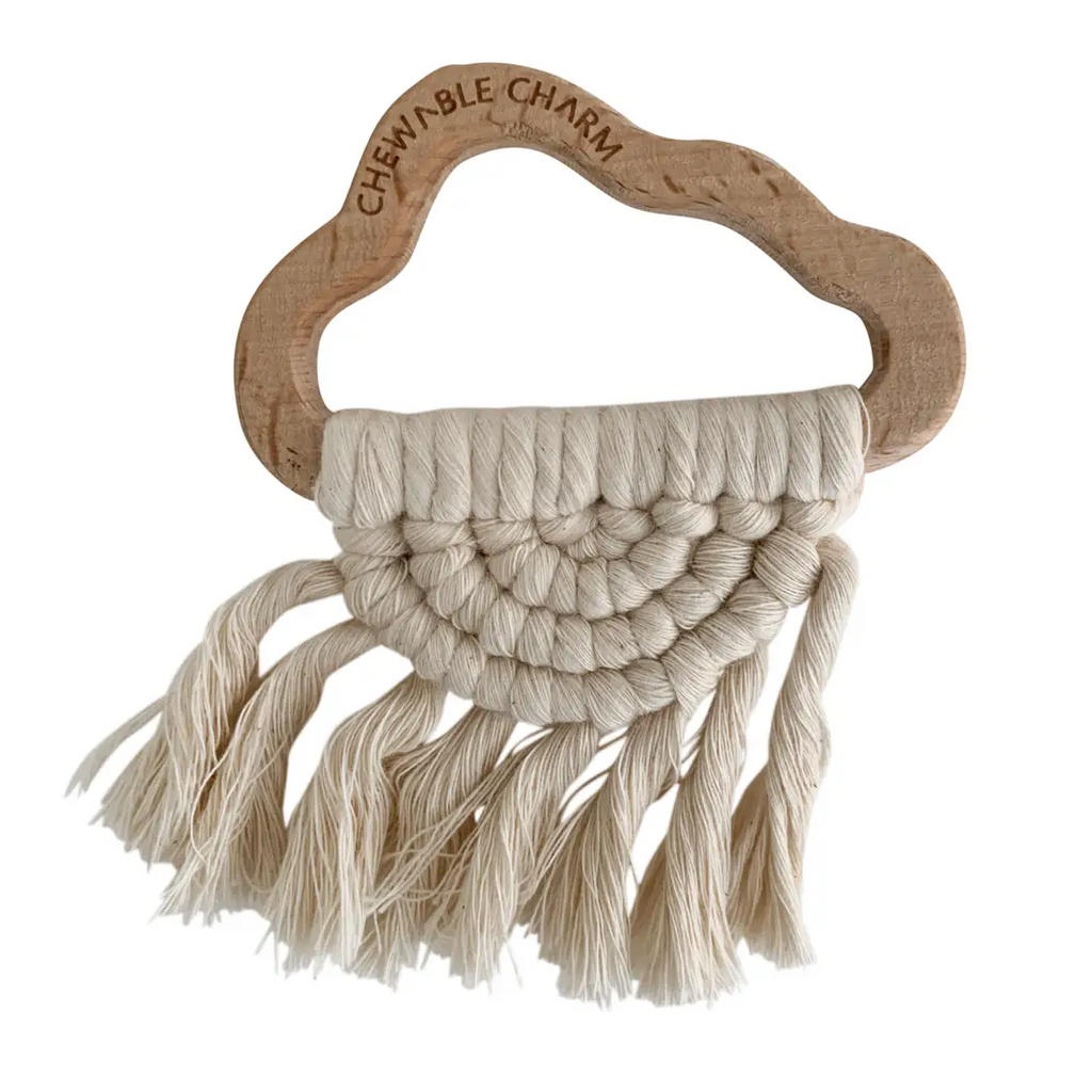 cloud macrame teether - cream