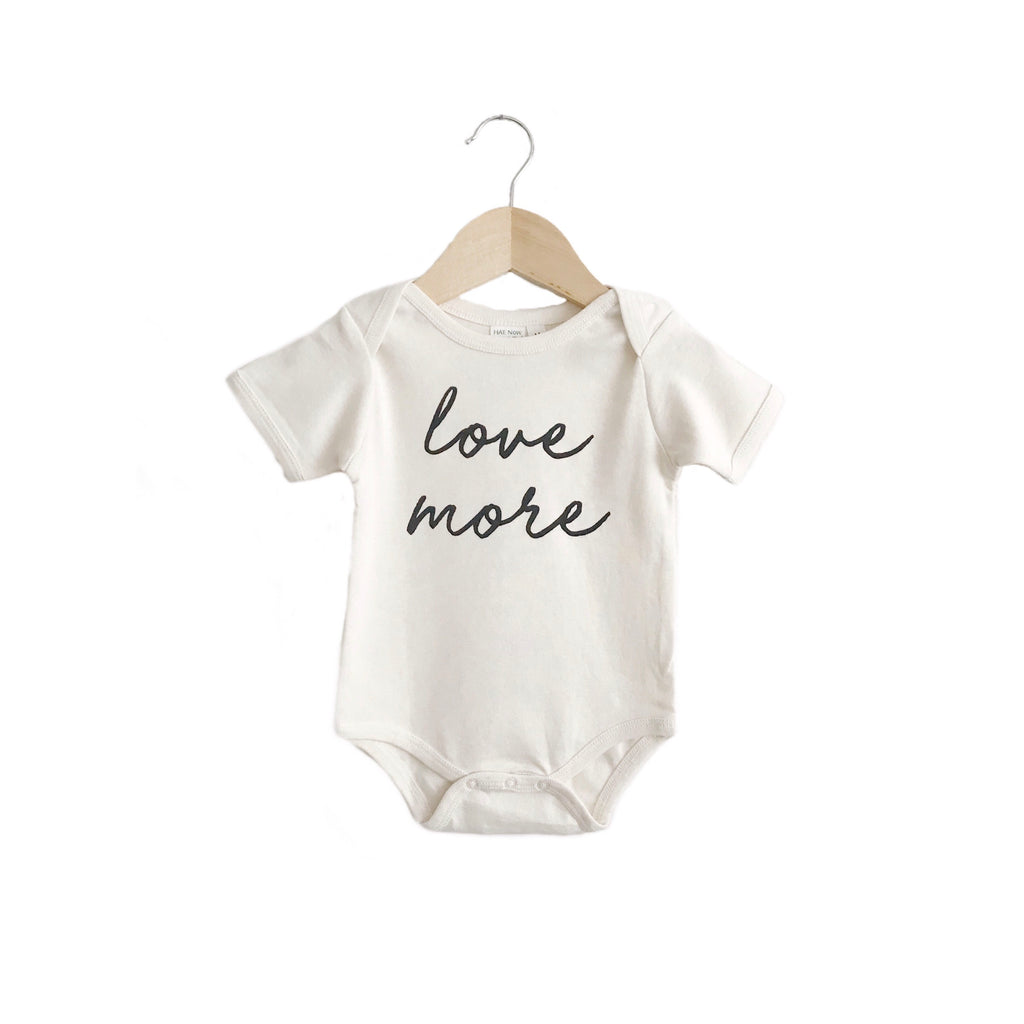organic body suit/toddler tee | love more