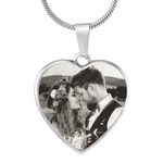 Photo Etched Heart Necklace (Stainless) / No