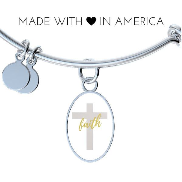 Faith & Cross Bangle Bracelet