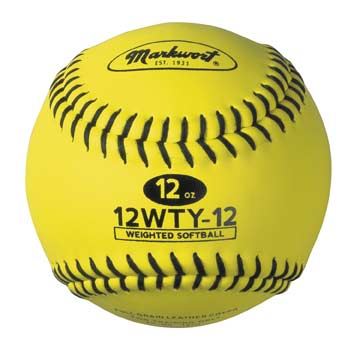 "Leather Weighted Optic Yellow 12"" Training Softball"