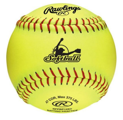 "Rawlings 12"" Synthetic Cover Yellow Batting Practice Softball"