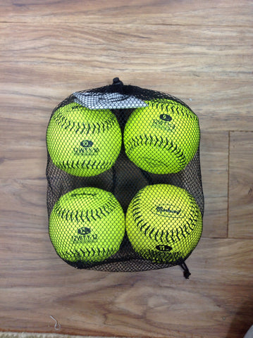 "Set of Optic Yellow 12"" Weighted Leather Training Softballs"