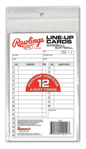 Rawlings Team Line-Up Cards