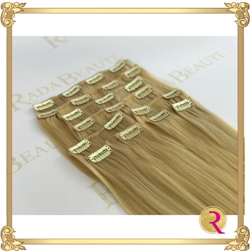 Butterscotch Blonde Clip in Extensions, side view. Buy now at Rada Beaute