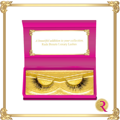 Lust Mink Lashes box open view. Buy now at Rada Beaute.