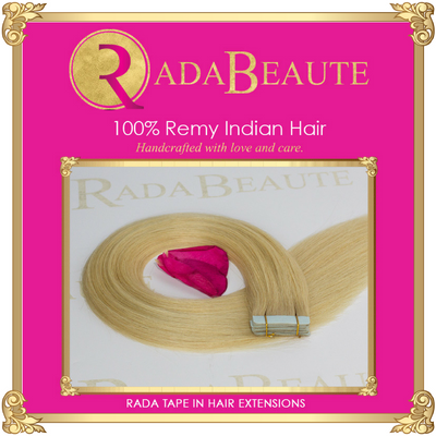 Butterscotch Blonde Tape in Extensions. Buy now at Rada Beaute.