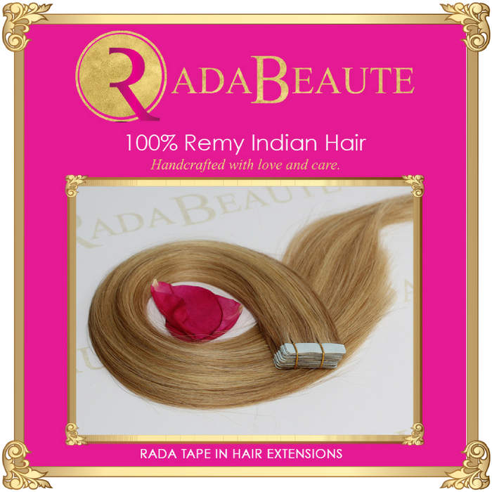 Maple Blonde Tape in extension. Buy now at Rada Beaute.