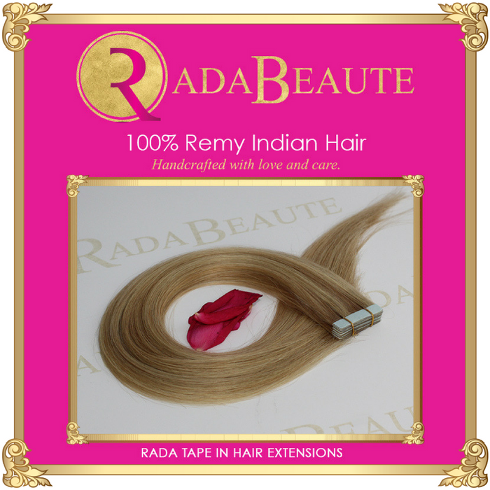 Champagne & Blonde Lush Tape in extensions. Buy now at Rada Beaute.