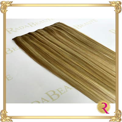 Maple Blonde lace in hair extension close up. Buy now at Rada Beaute.