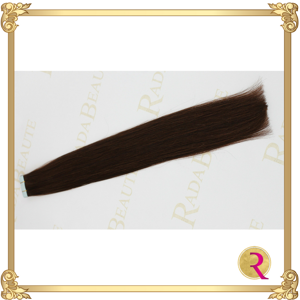 Melted Mocha Tape in extensions side view. Buy now at Rada Beaute.