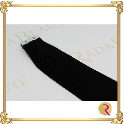 Midnight Diva Tape in extensions close up. Buy now at Rada Beaute.