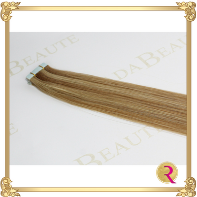 Champagne & Blonde Lush Tape in extensions close up. Buy now at Rada Beaute.
