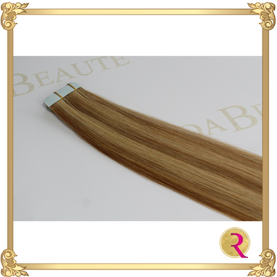 Maple Blonde Tape in extension close up. Buy now at Rada Beaute.