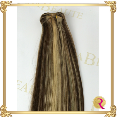 Mocha Irish Cream weave extensions top view. Buy now at Rada Beaute.