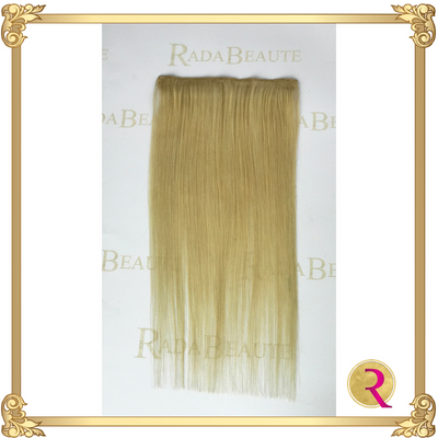 Butterscotch Blonde Lace in Extensions full length view. Buy now at Rada Beaute.