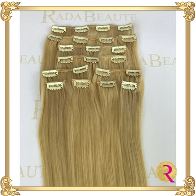 Butterscotch Blonde Clip in Extensions, top view. Buy now at Rada Beaute.