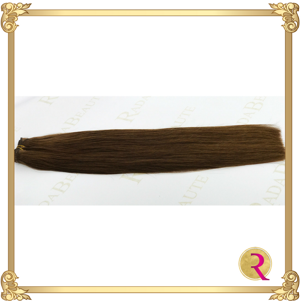 Melted Mocha Weave extensions side view. Buy now at Rada Beaute