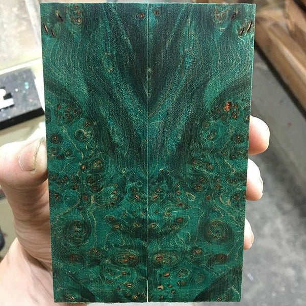 Blue/Green Dyed Maple Burl Stabilized Wood Knife Scales