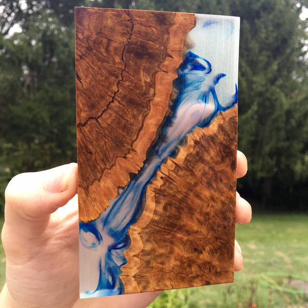 Brown Mallee Burl w/ Clear Green and Blue Swirl Resin Slab Blank