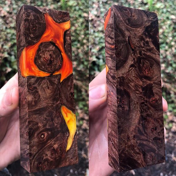 Black Dyed Maple Burl w/ Gold Orange Resin Blank