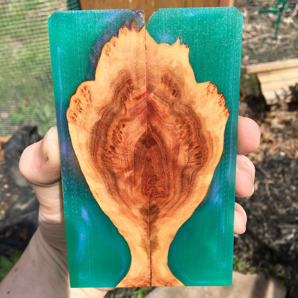 Red Mallee Burl w/ Green/Purple Resin Knife Scales