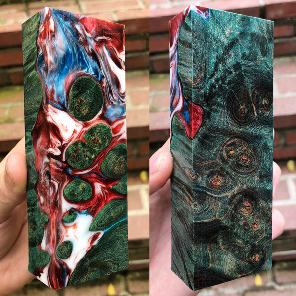 Green Dyed Maple Burl Hybrid Blank