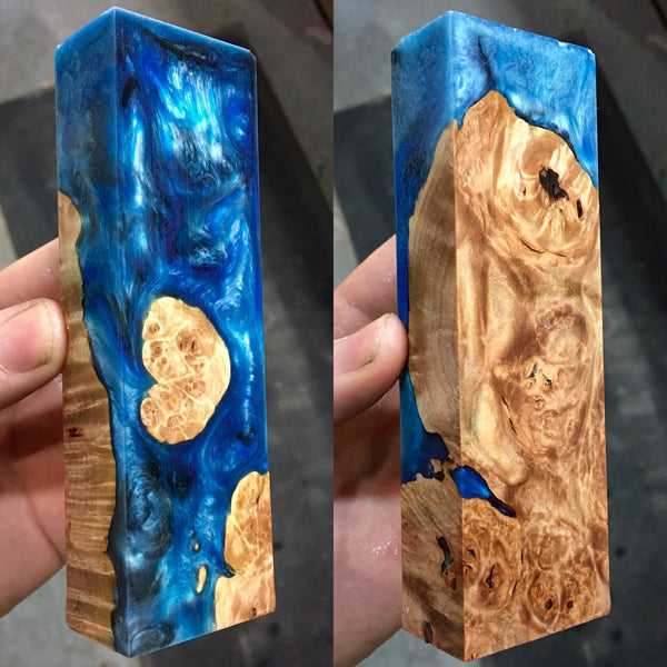 Maple Burl with Blue Silver Swirl Resin Blank