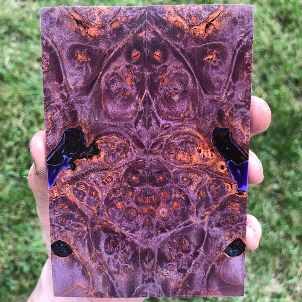 Purple dyed Maple Burl Knife Scales