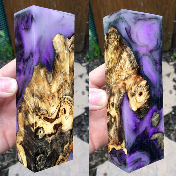Buckeye Burl w/ Black and Violet Pearl Blank