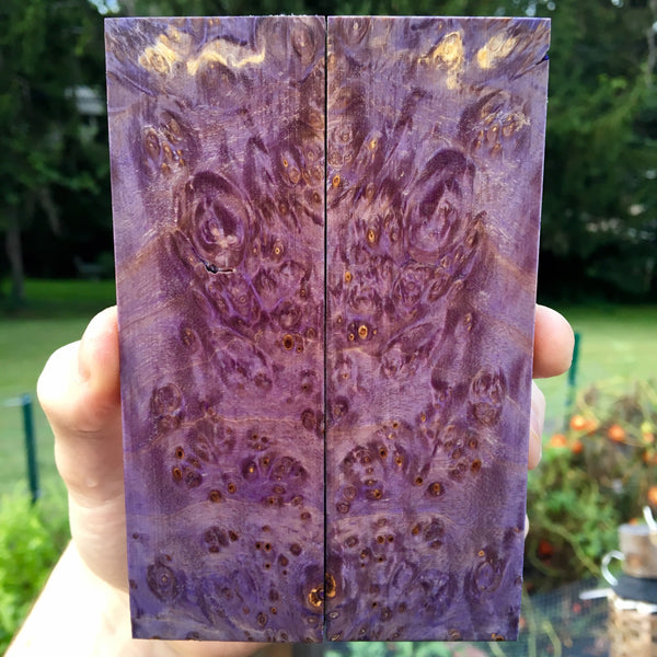 Purple Dyed Box Elder Knife Scales