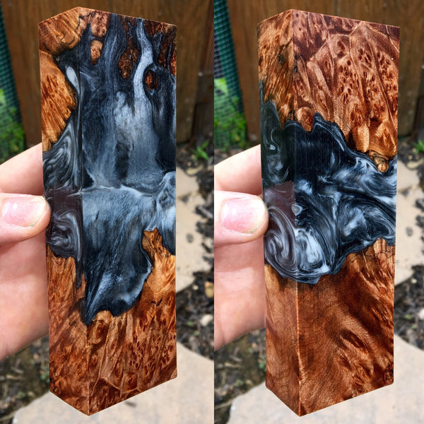 Maple Burl w/ Black Silver and White Resin Blank