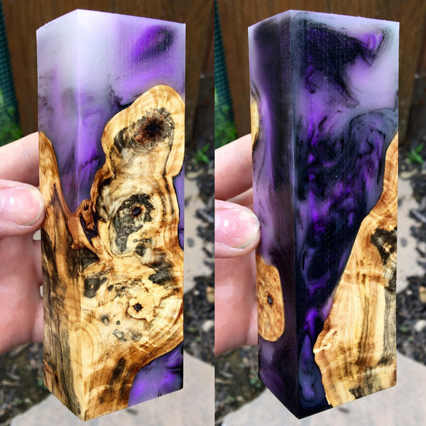 Buckeye Burl w/ Black and Violet Pearl Resin Blank