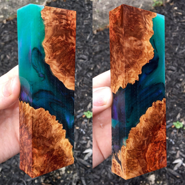 Red Mallee Burl w/ Green/Purple and Black Resin Blank