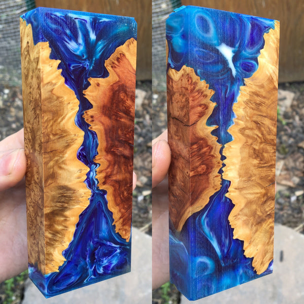 Brown and Red Mallee Burl w/ Blue Purple Swirl Resin Hybrid Blank