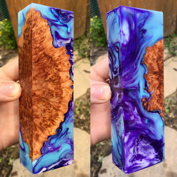 Red Mallee Burl w/ Turquoise Purple Swirl Resin Blank