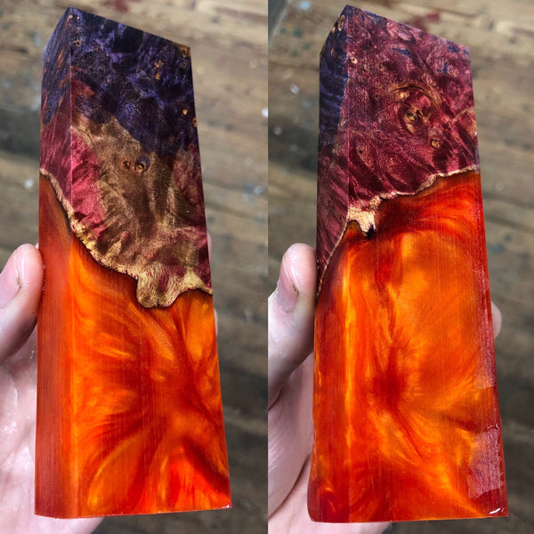 Dyed Maple Burl Hybrid Blank
