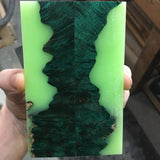 Dyed Maple Burl with BRIGHT Green Glow in the Dark Resin Knife Scales