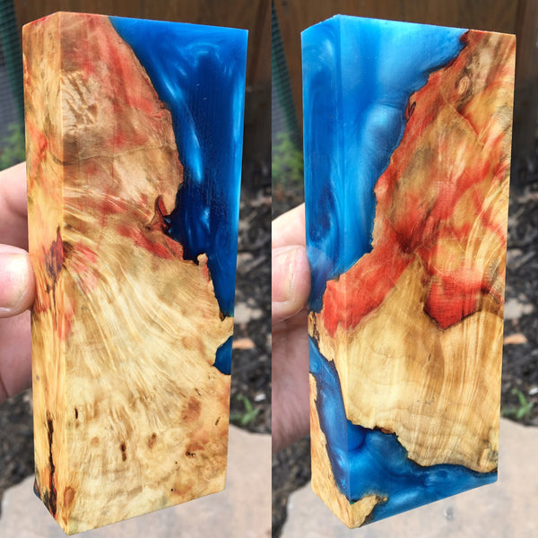 Flame Box Elder w/ Sky Blue Resin Blank