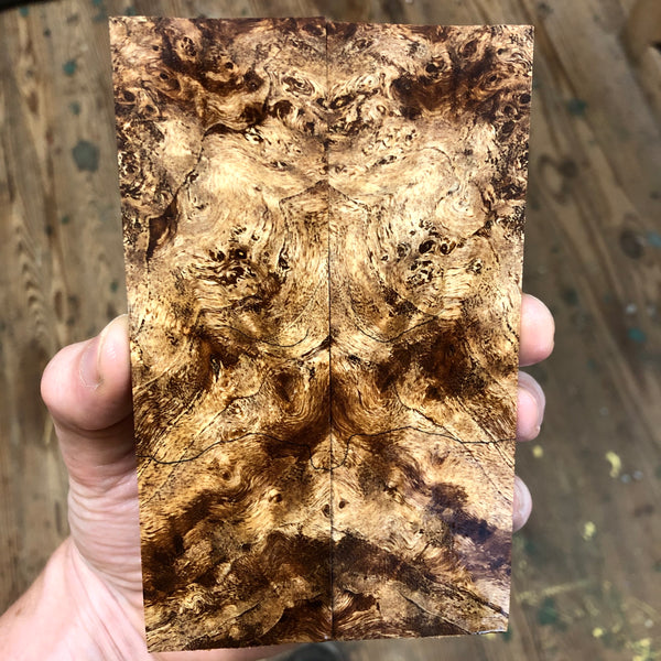 "Spalted Maple Burl Knife Scales 5 5/8""L x 1 11/16""W x .27"" thick"