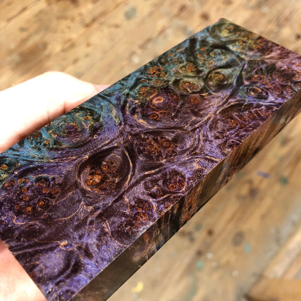 "Dyed Maple Burl Blank 5 9/16""L x 2 3/16""W x 1"" thick"