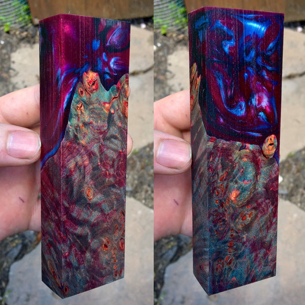 Dyed Maple Burl w/ Maroon/Blue Resin Blank