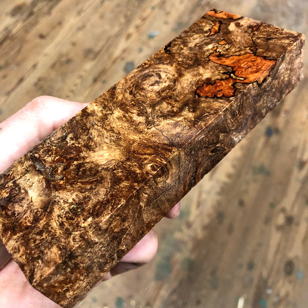 "Spalted Maple Burl Blank 5 9/16""L x 2""W x 15/16"" thick"
