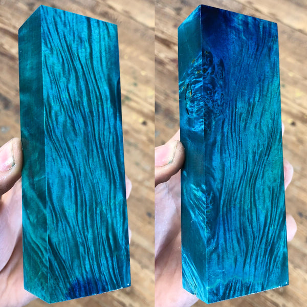 Blue/Green dyed Box Elder Burl Blank