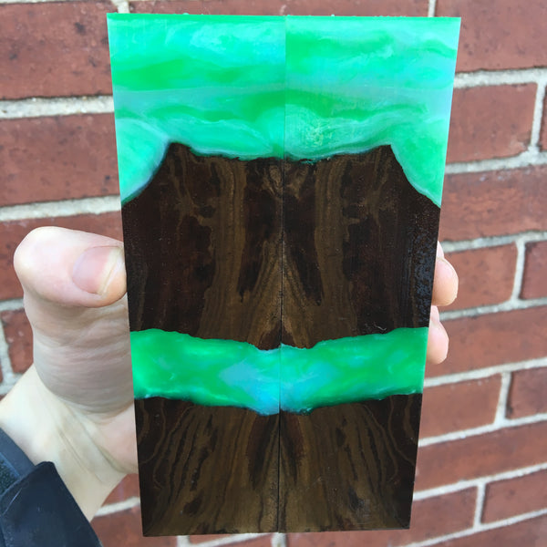 Claro Walnut Burl w/ Emerald and Turquoise Resin Knife Scales